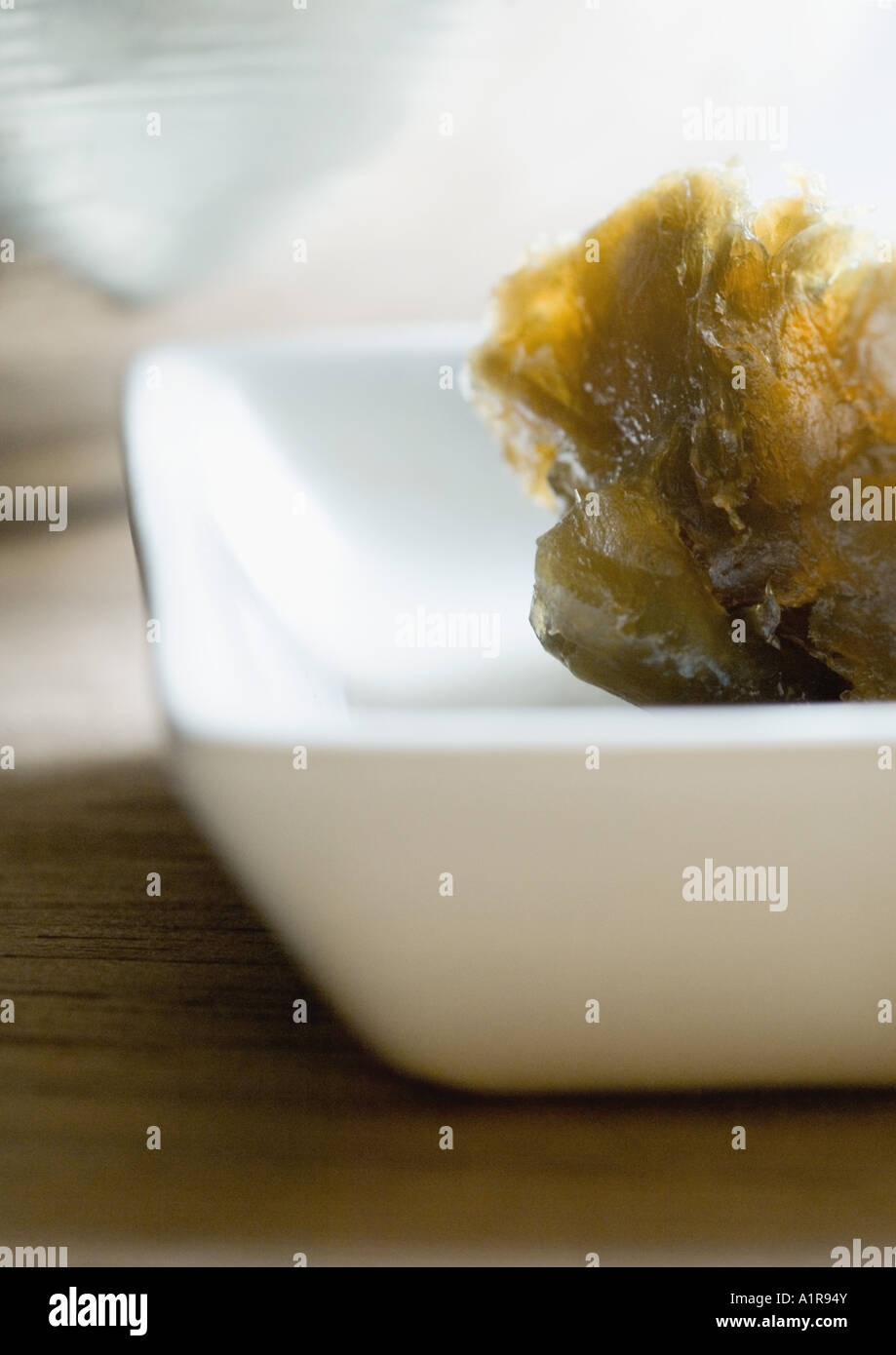 Seaweed in square dish, partial view - Stock Image