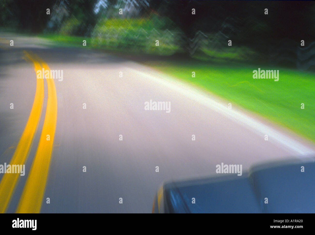 fish eye view from car of a country road at high speed - Stock Image