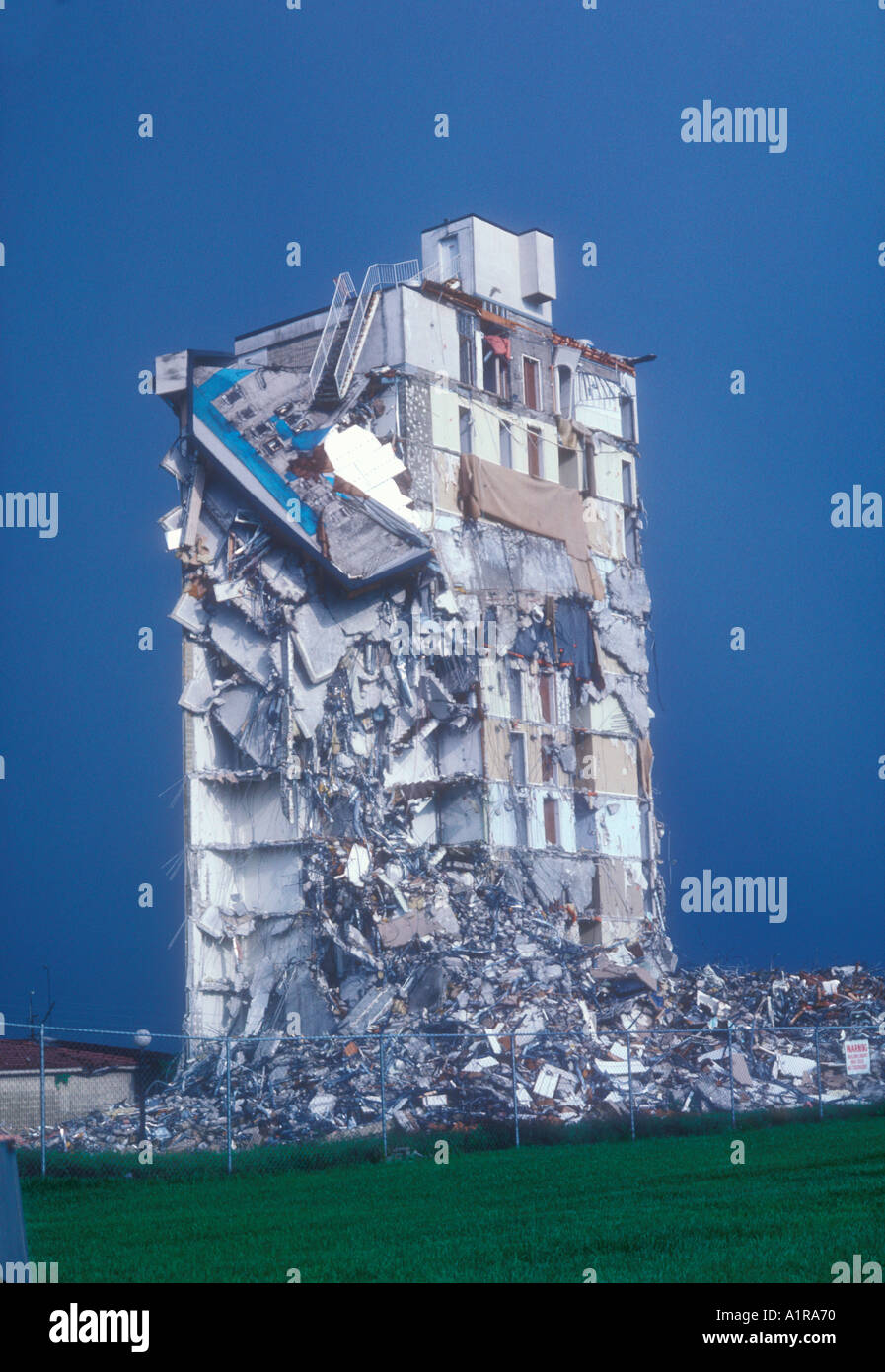 12 story condo being demolished due to construction problems - Stock Image