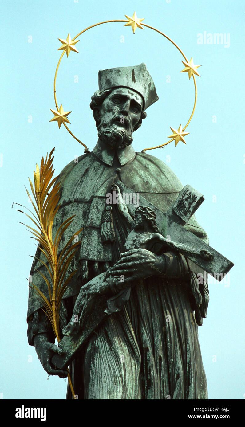 St John of Nepomuk statue, Charles Bridge, Prague - Stock Image