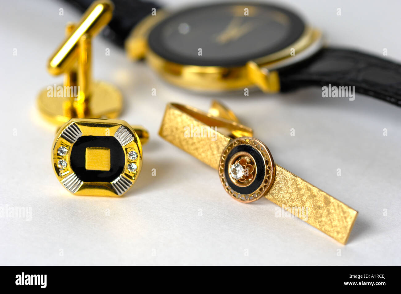 cufflinks watch and tie clip Stock Photo