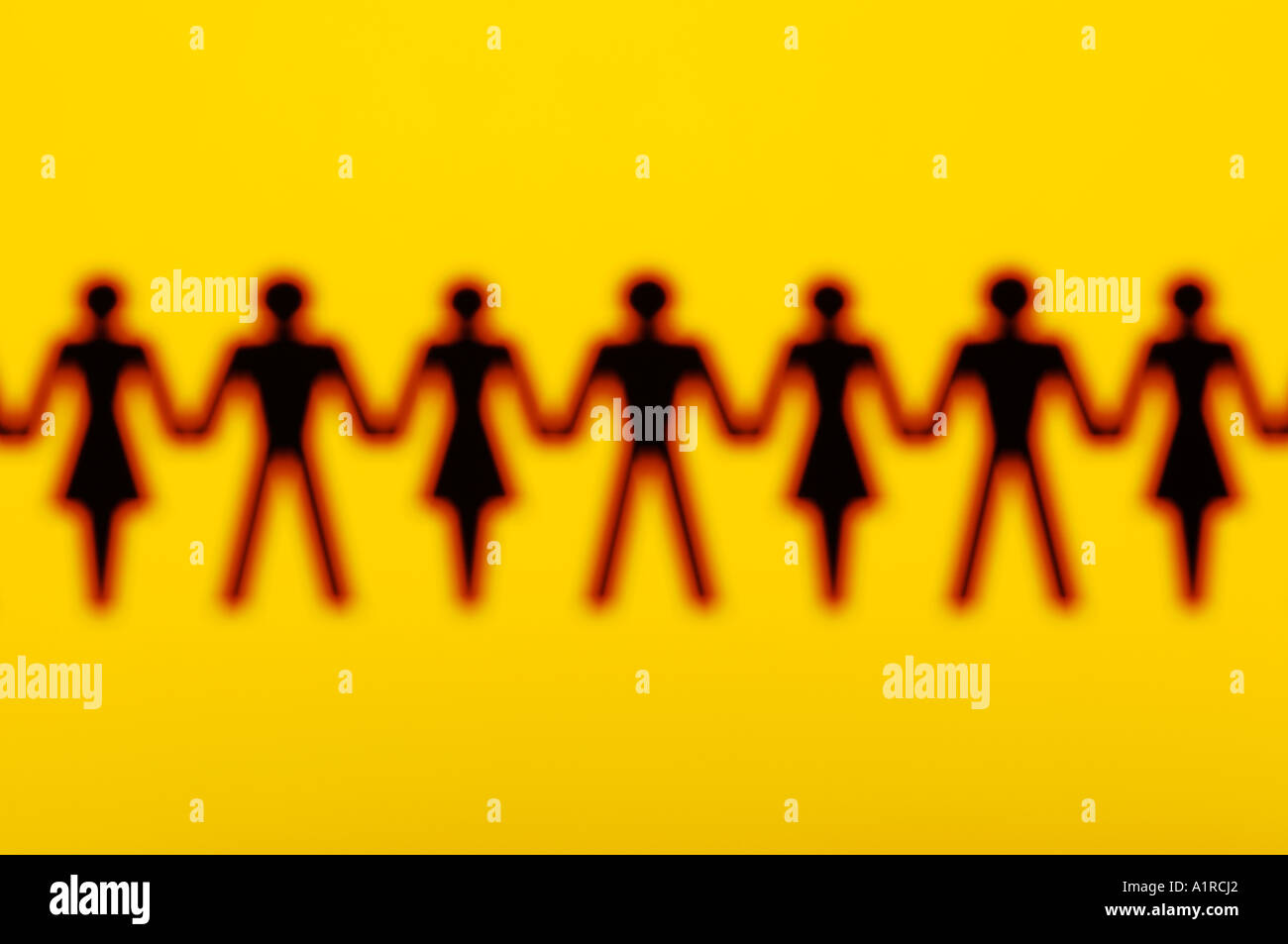 Paper chain people - Stock Image