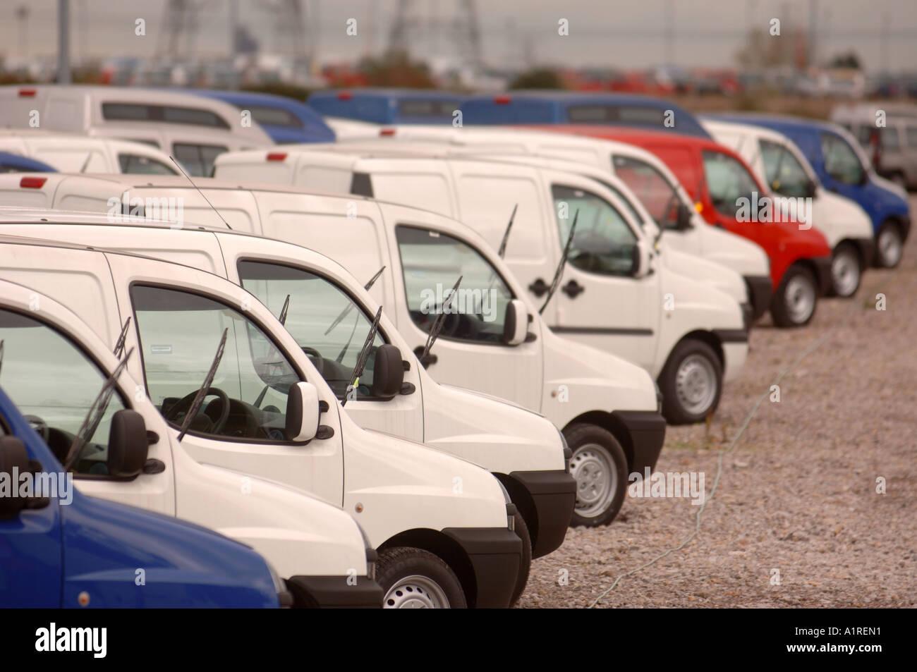 New Fiat Doblo Cargo Vans Parked At Avonmouth Docks Near Bristol Uk