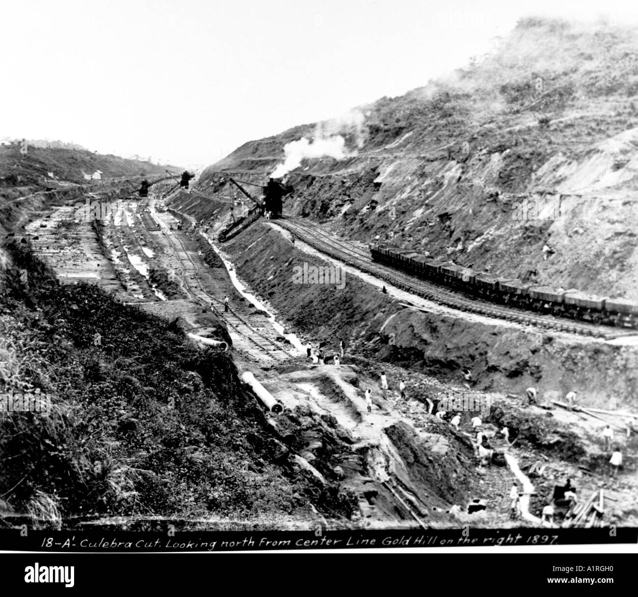 Culebra Cut Looking North from Center Line Gold Hill on the right circa 1897 - Stock Image