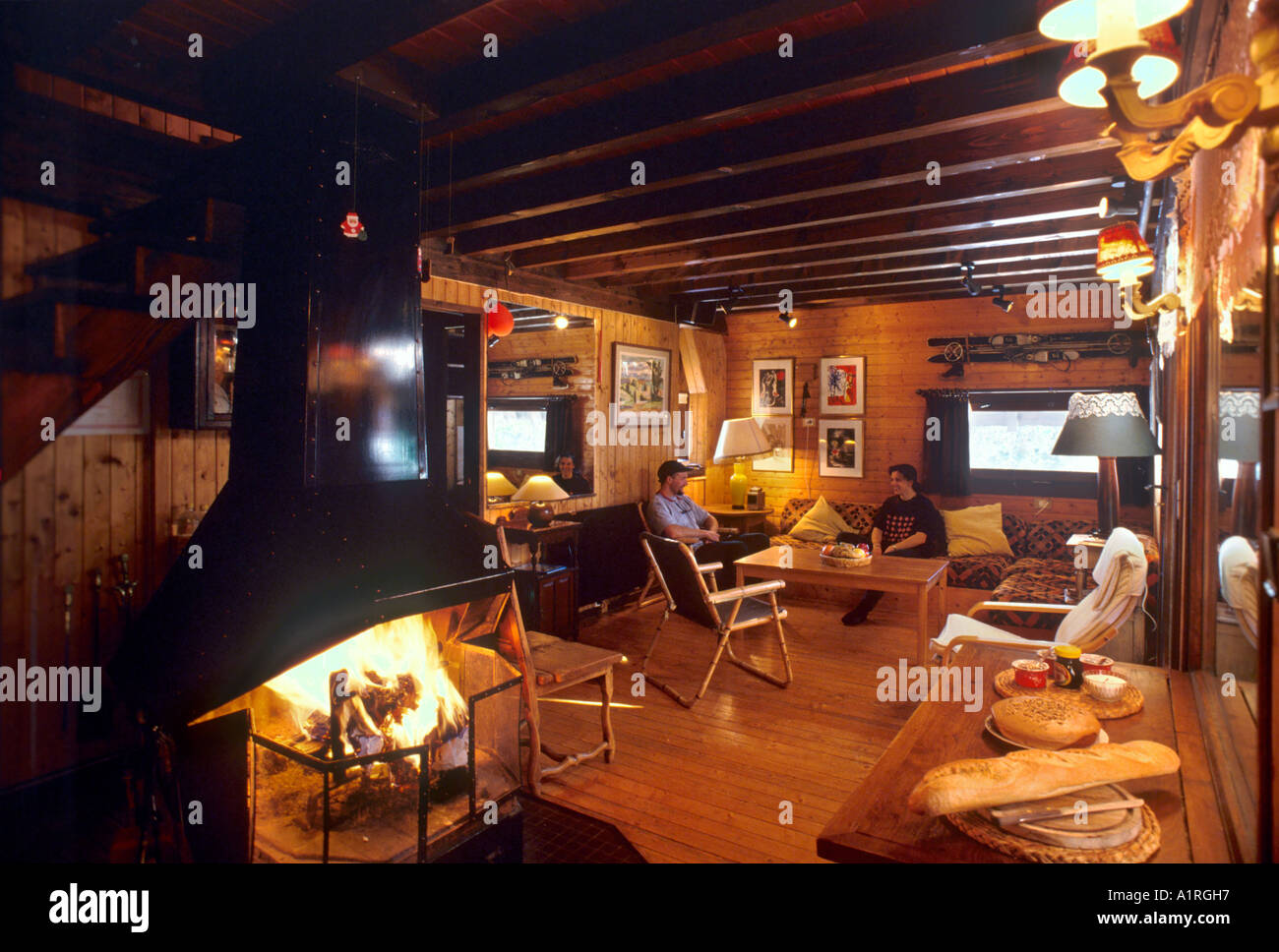 Afternoon tea in a typical chalet, Avoriaz, Savoie, French Alps, France - Stock Image