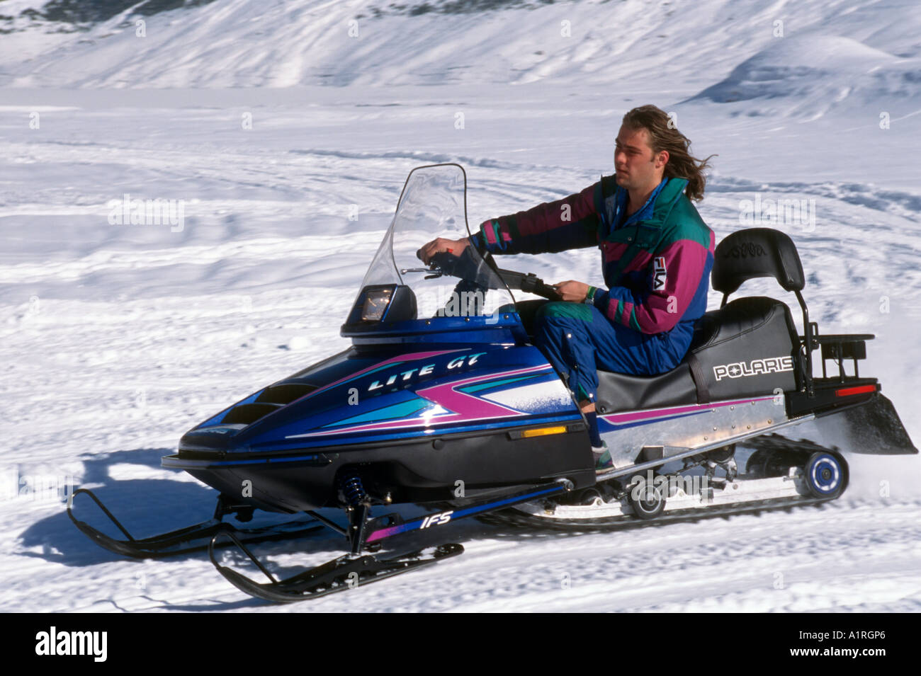 Snowmobile, Livigno, Italian Alps, Italy Stock Photo