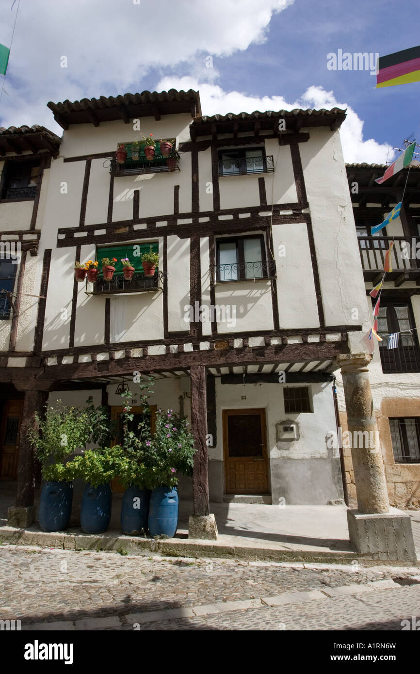 Old half timbered houses Covarrubias Old Castille Spain - Stock Image