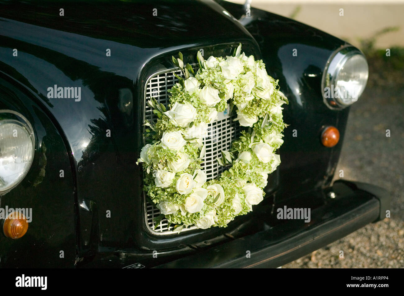 bridal wreath flower decoration at radiator grill of vintage car ...