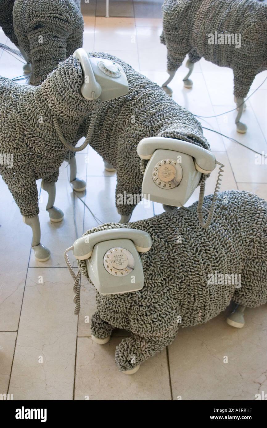 Telephone sheep at museum for communications im Frankfurt Main Germany Hesse Europe - Stock Image