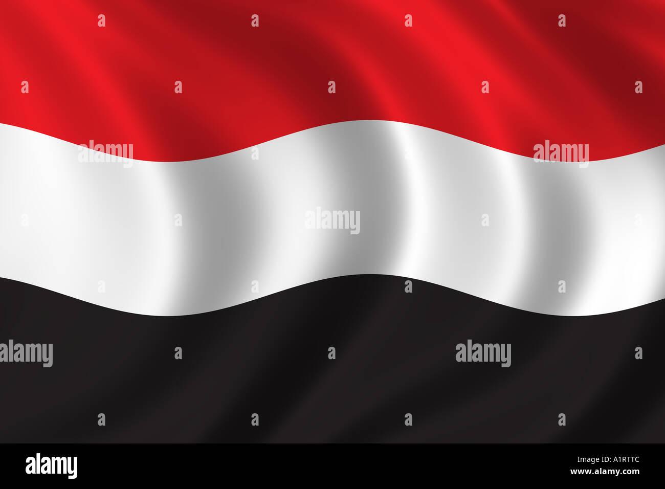 Flag of Yemen Stock Photo