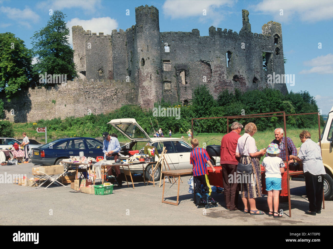 car boot sale at Laugharne Castle South wales Stock Photo