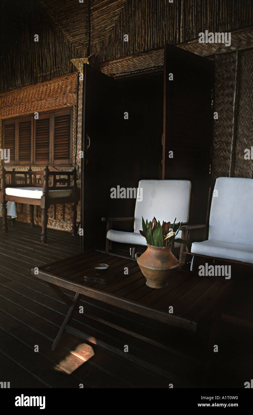 Furnished terrace of a bunglow at the Pole Pole eco Lodge at Utende on the island of Mafia TANZANIA Stock Photo
