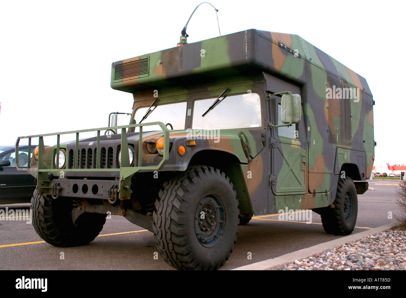 Army Hmmwv Hummer Humvee troop transport in a parking lot Clearwater Minnesota USA - Stock Image