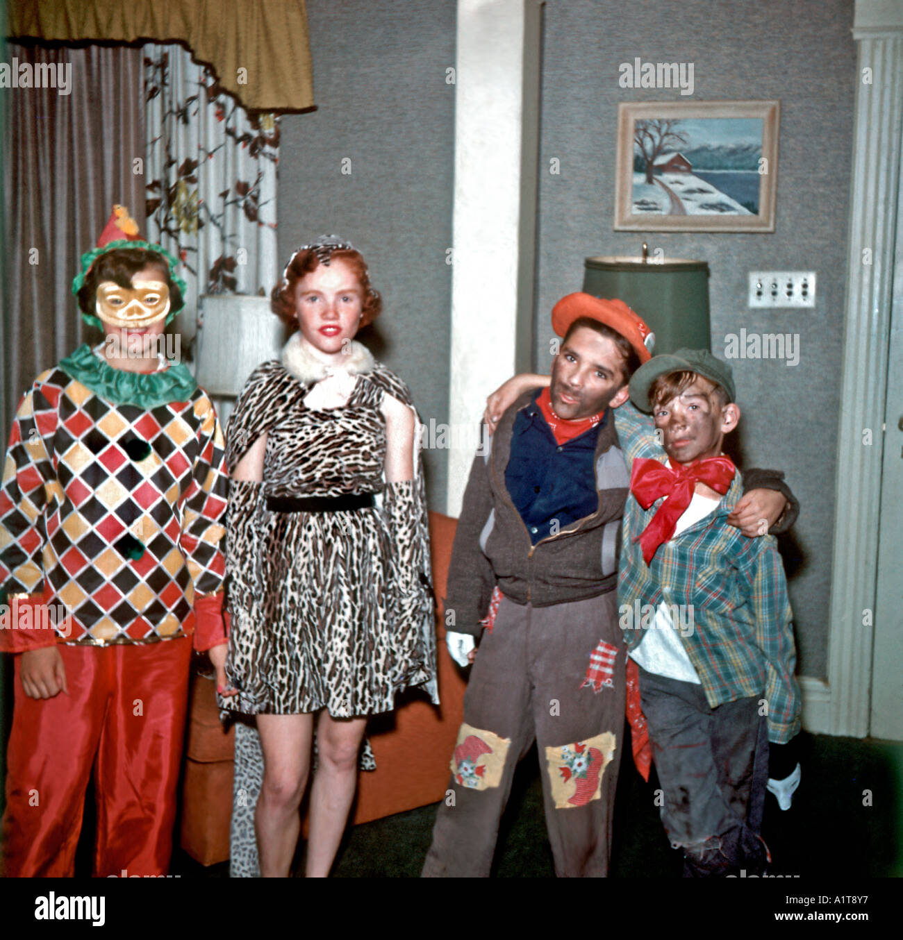 USA 1950's Halloween Group Portrait, with Young Teens Dressed up Vintage Photo, Family Photo, retro images, - Stock Image