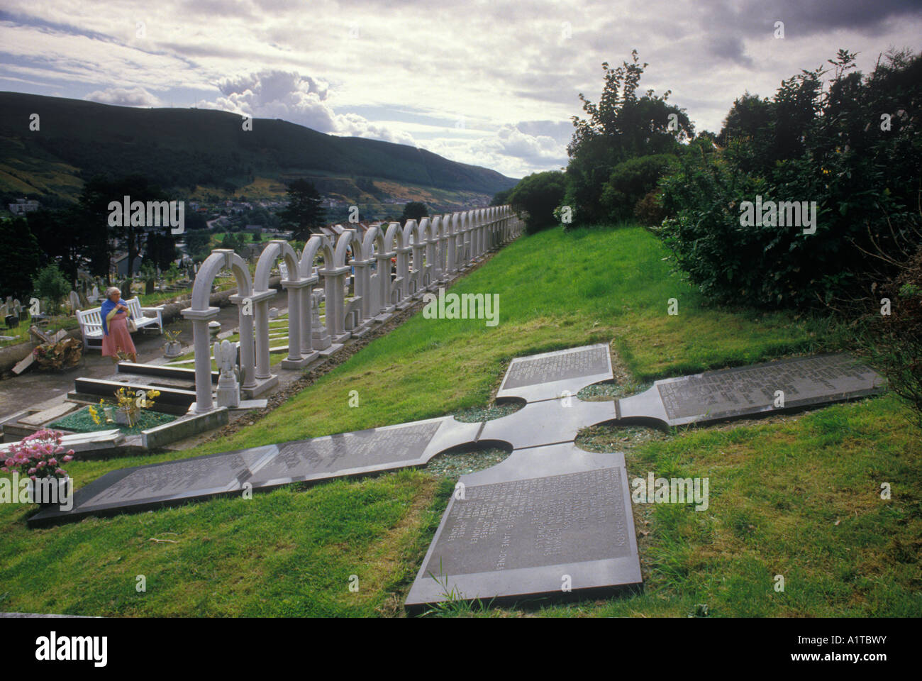 Aberfan Mid Glamorgan Wales UK memorial to the children killed in the coal mining tip disaster in 1966. - Stock Image