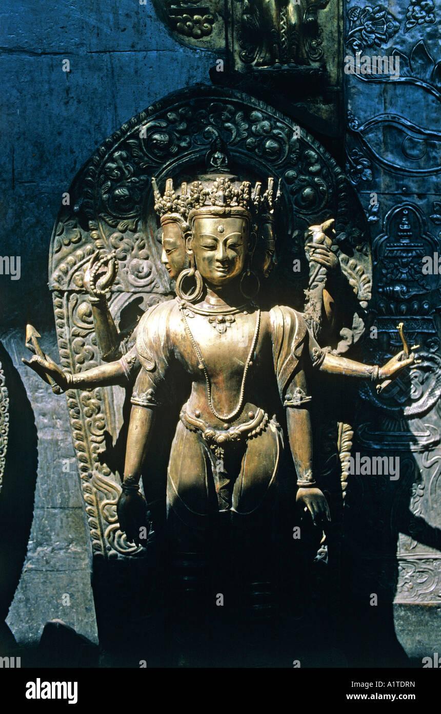 bronze statue of hindu deity temple site of patan kathmandu valley nepal - Stock Image