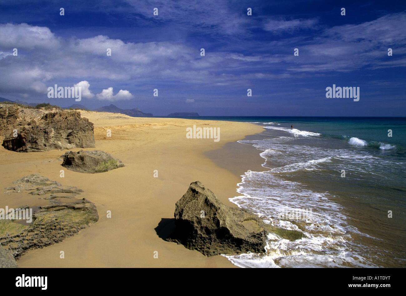 coastline and beach of praia de porto santo region of algarve portugal - Stock Image