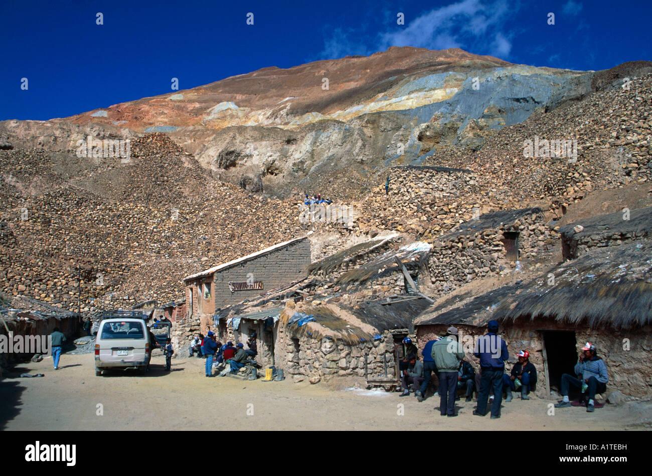 tin mine of santa rita town of potosi mount cerro rico bolivia - Stock Image