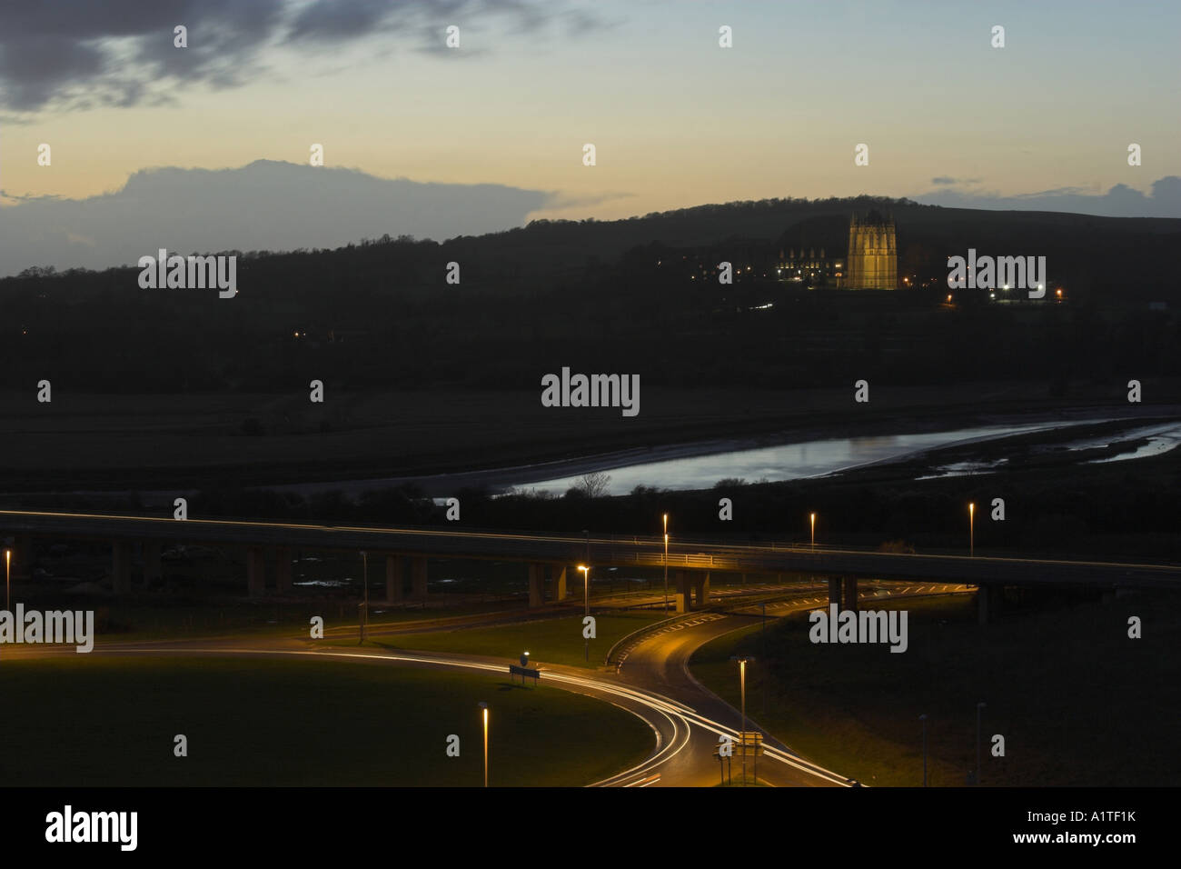 Light trails on the Shoreham flyover / interchange with Lancing College in the background - Shoreham by Sea, West Stock Photo