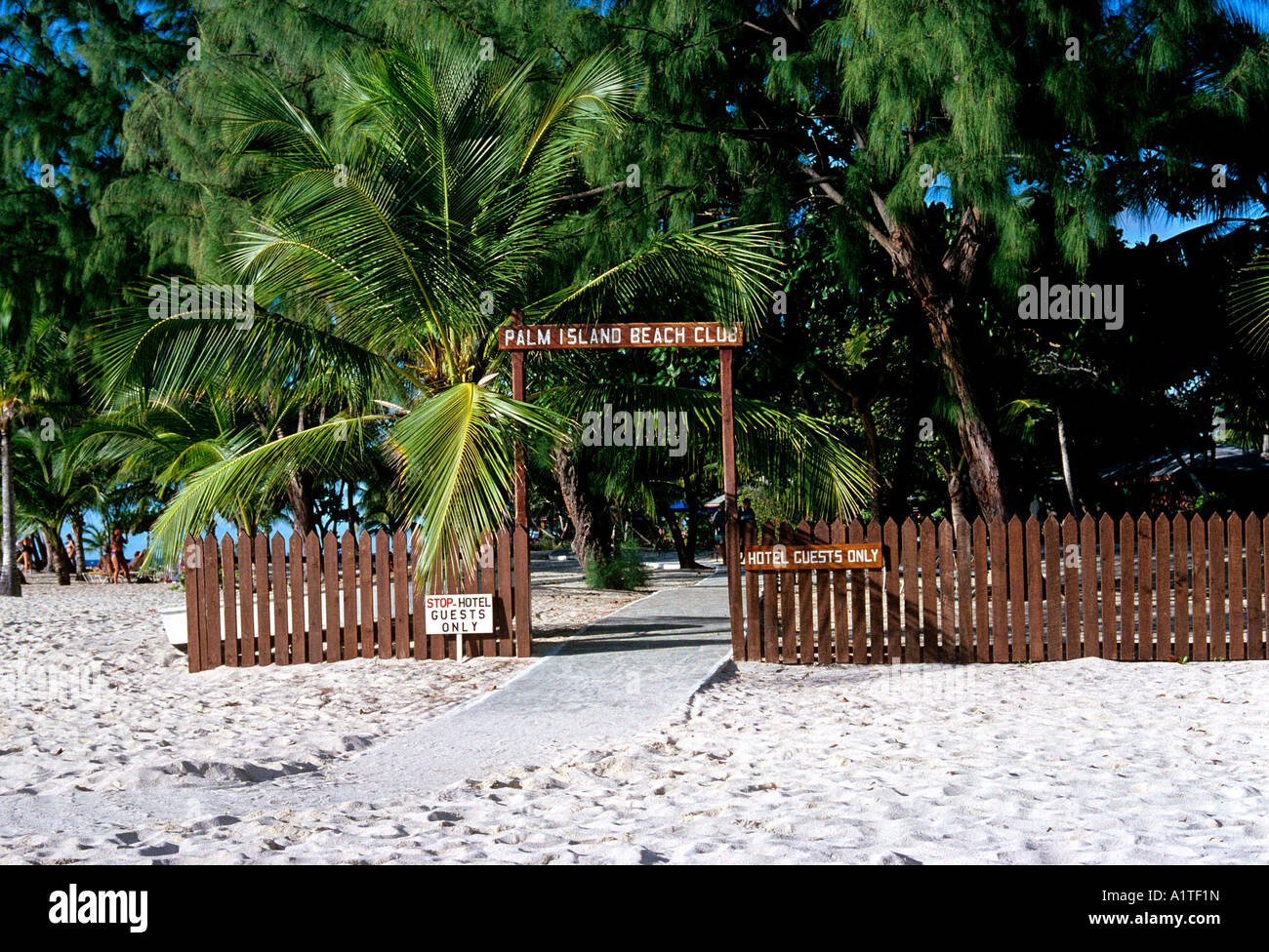 hotel guests only sign island of grenada archipelago of the lesser antilles caribbean editorial use only - Stock Image
