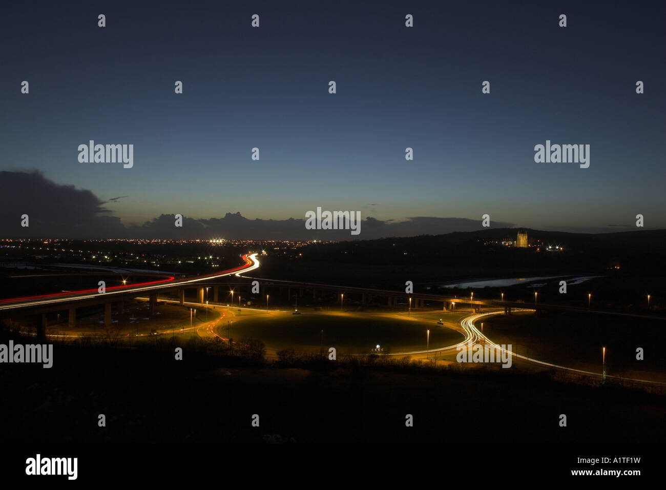 Light trails on the A27 Shoreham flyover / interchange - Shoreham by Sea, West Sussex, UK. Stock Photo
