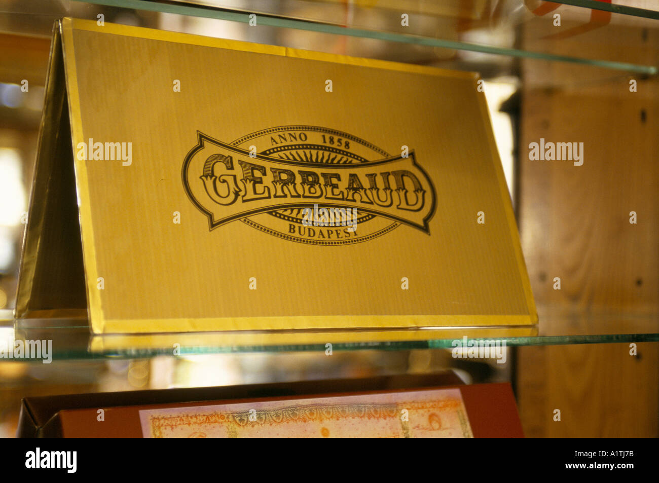 GERBEAUD CAFE CAKES CARD BOARD ON A GLASS SHELF WITH THE LOGO OF THE GERBEAUD HOUSE BUDAPEST - Stock Image