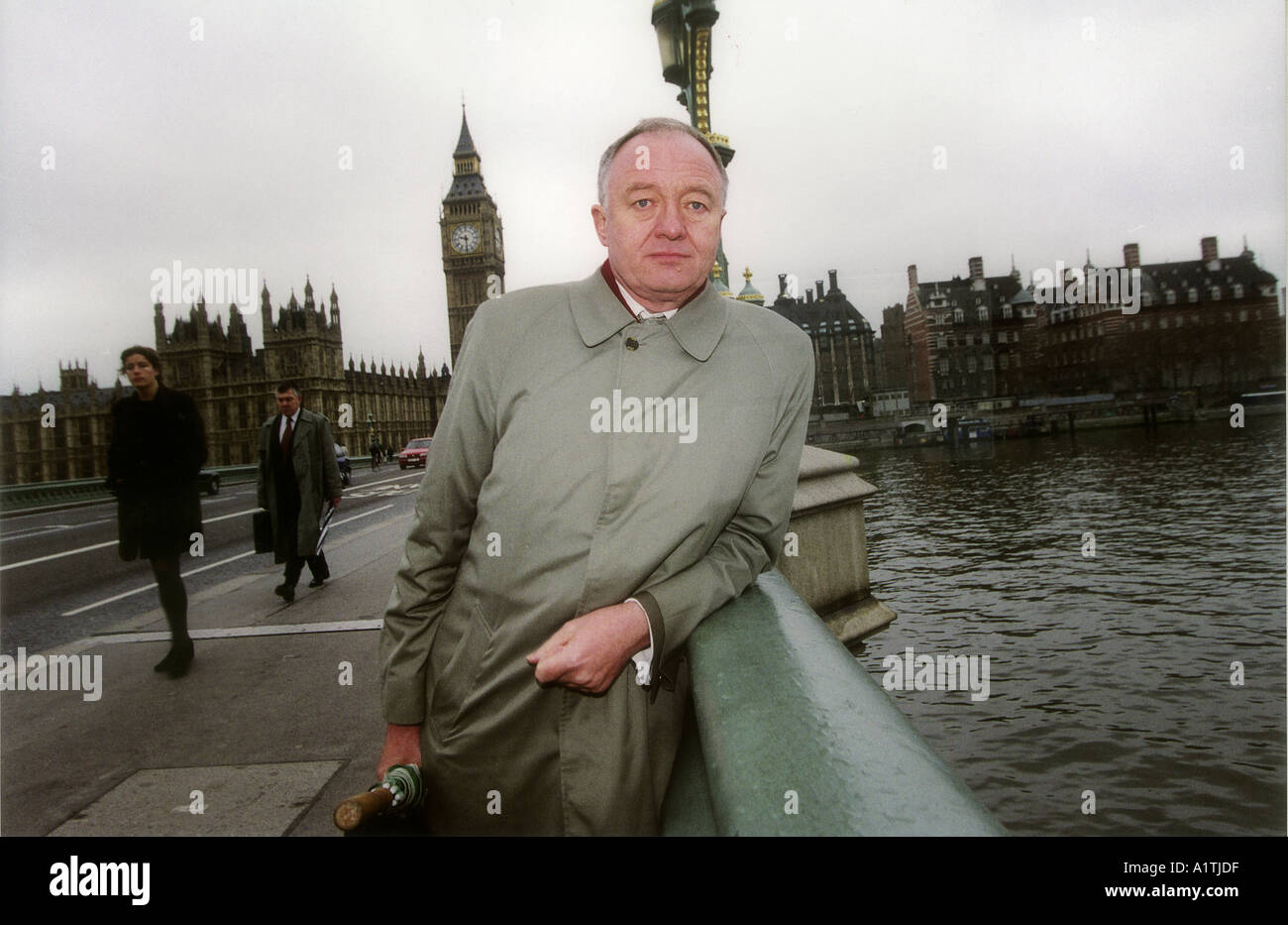 Ken Livingstone Mayor of London in front of the Houses of Parliament - Stock Image