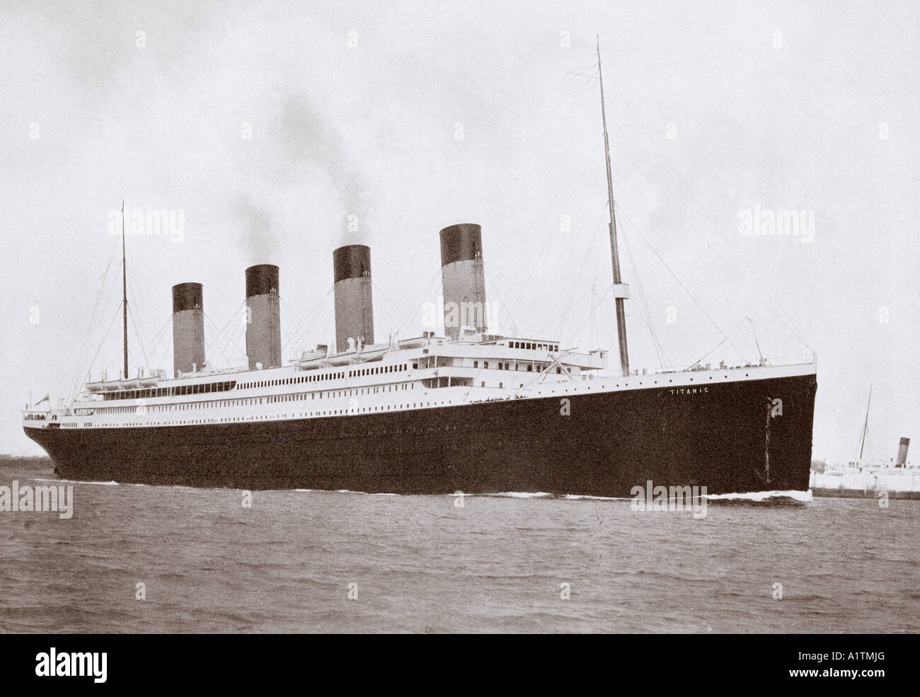 The 46,328 tons RMS Titanic of the White Star Line - Stock Image