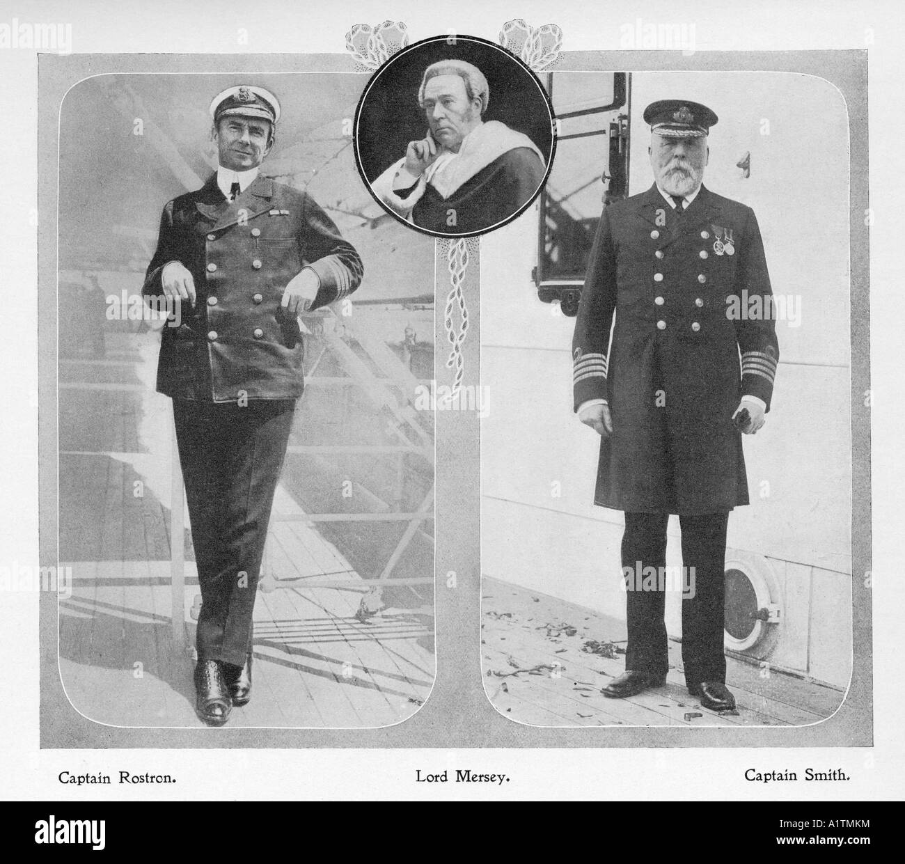 Captain Rostron captain of Carpathia which rescued Titanic survivors on left.  Captain Smith of the Titanic, right. - Stock Image