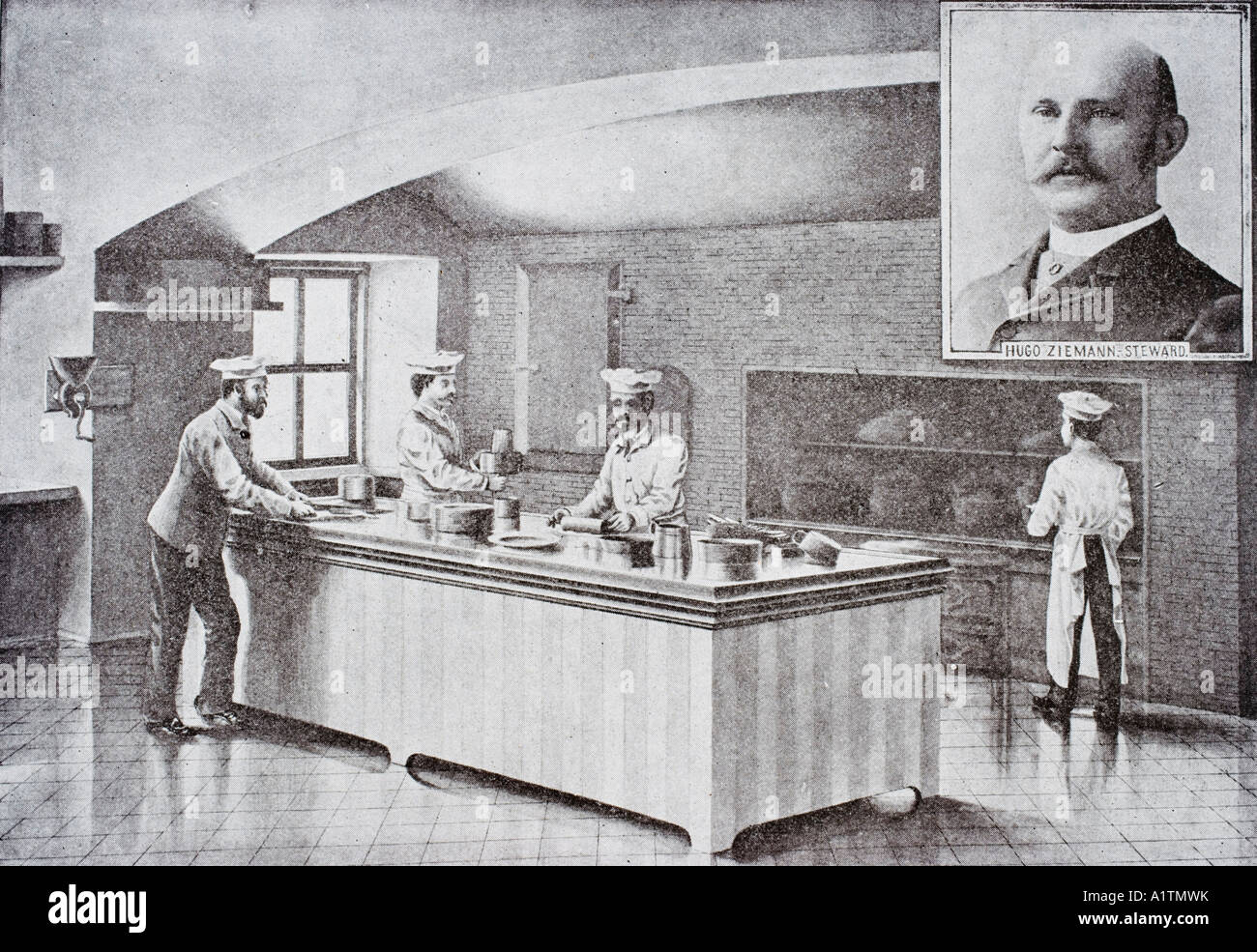 Kitchen of The White House in 1890 s with inset portrait of Hugo Ziemann White House steward - Stock Image