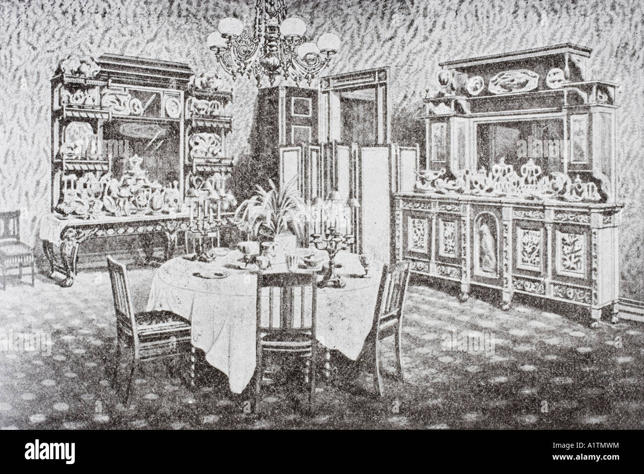 Washington DC United States of America Family dining room of The White House in 1890 s - Stock Image