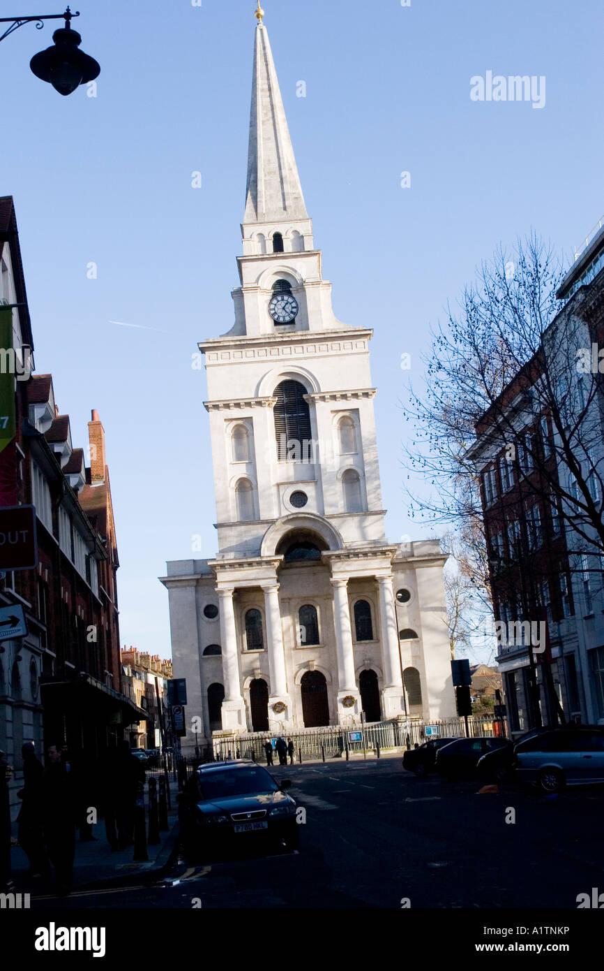 Brushfield Street, Spitalfields Market area with Christ Church Spitalfields, Commercial Street London E1 UK Stock Photo