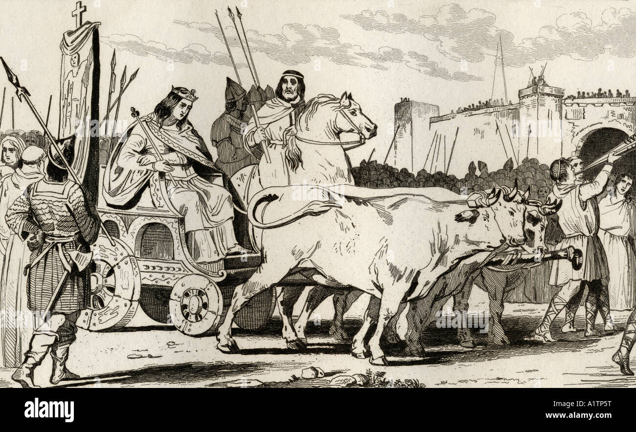 Clovis III 682 to 695 in a chariot pulled by oxen with Pepin II of Herstal c 714 riding beside him - Stock Image