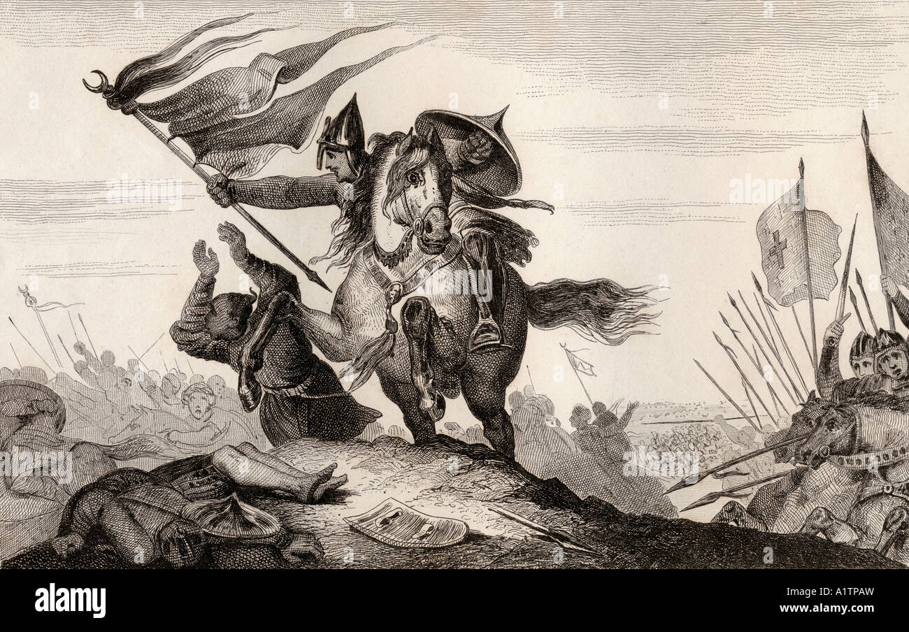 8th century French knight in battle - Stock Image