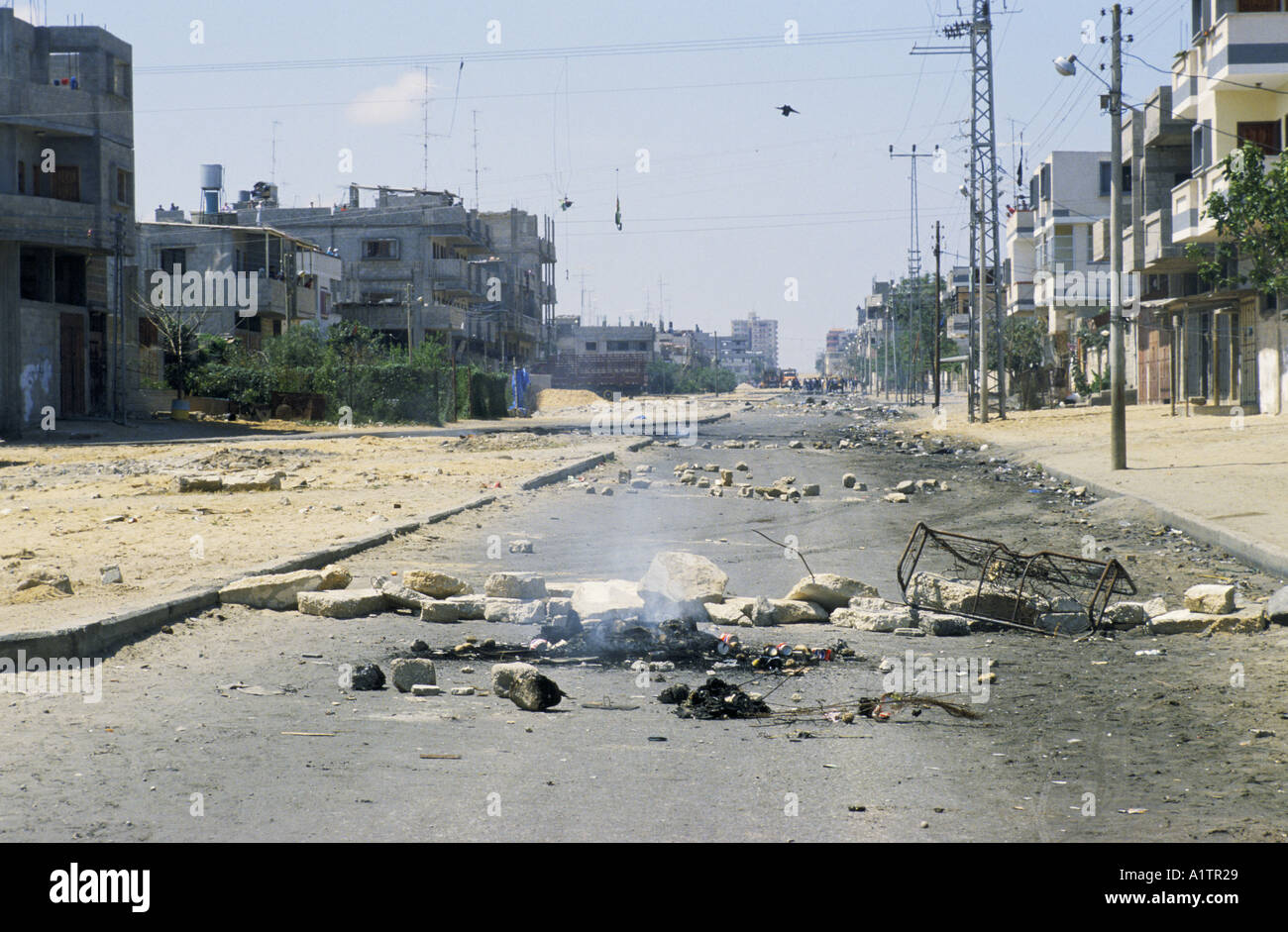 GAZA UPRISING INTIFADA .STREET BLOCKADE APRIL 1988 - Stock Image