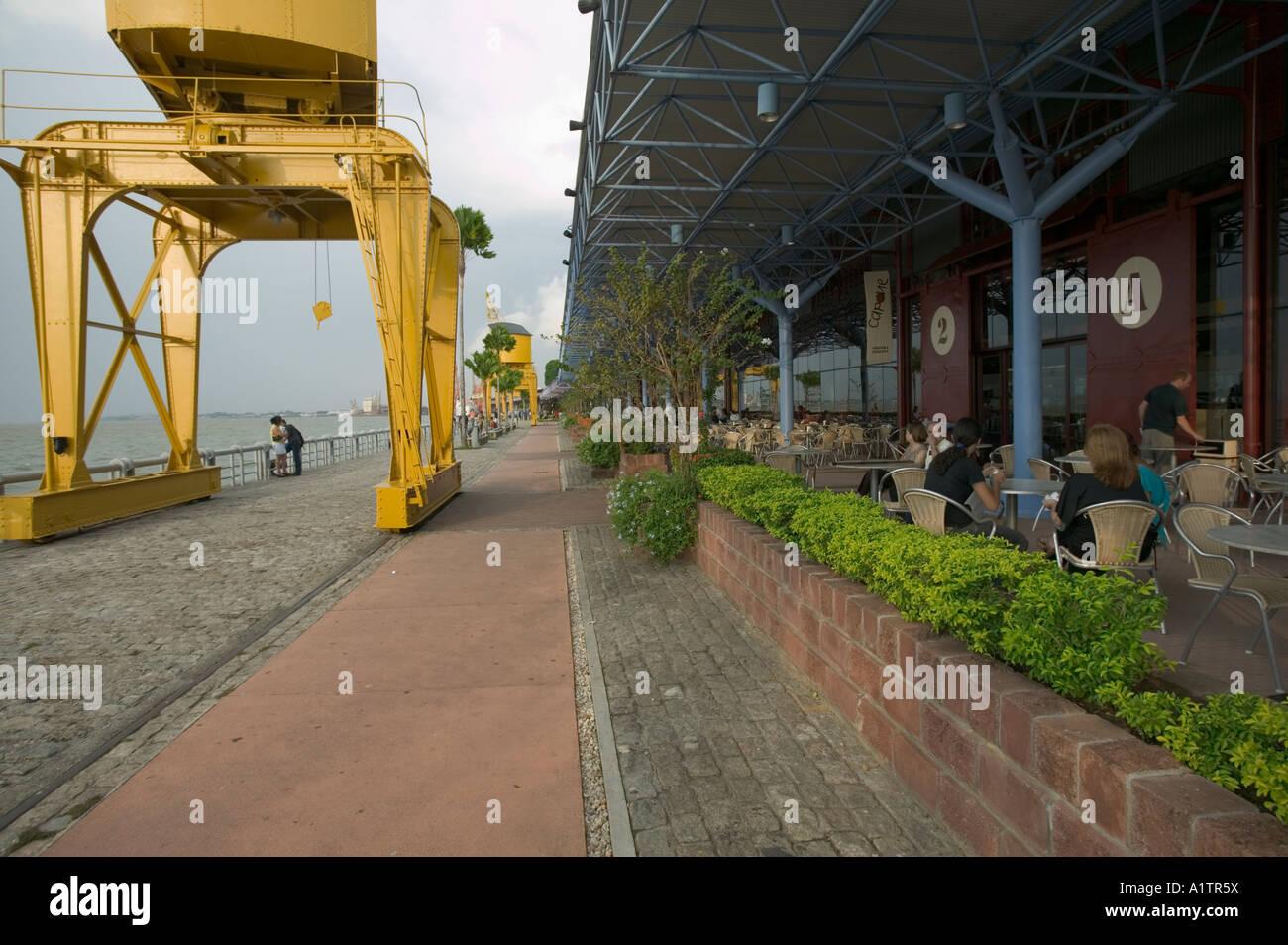 Cafes on the river front at Estacio das Docas refurbished docks Belem Para state Brazil - Stock Image