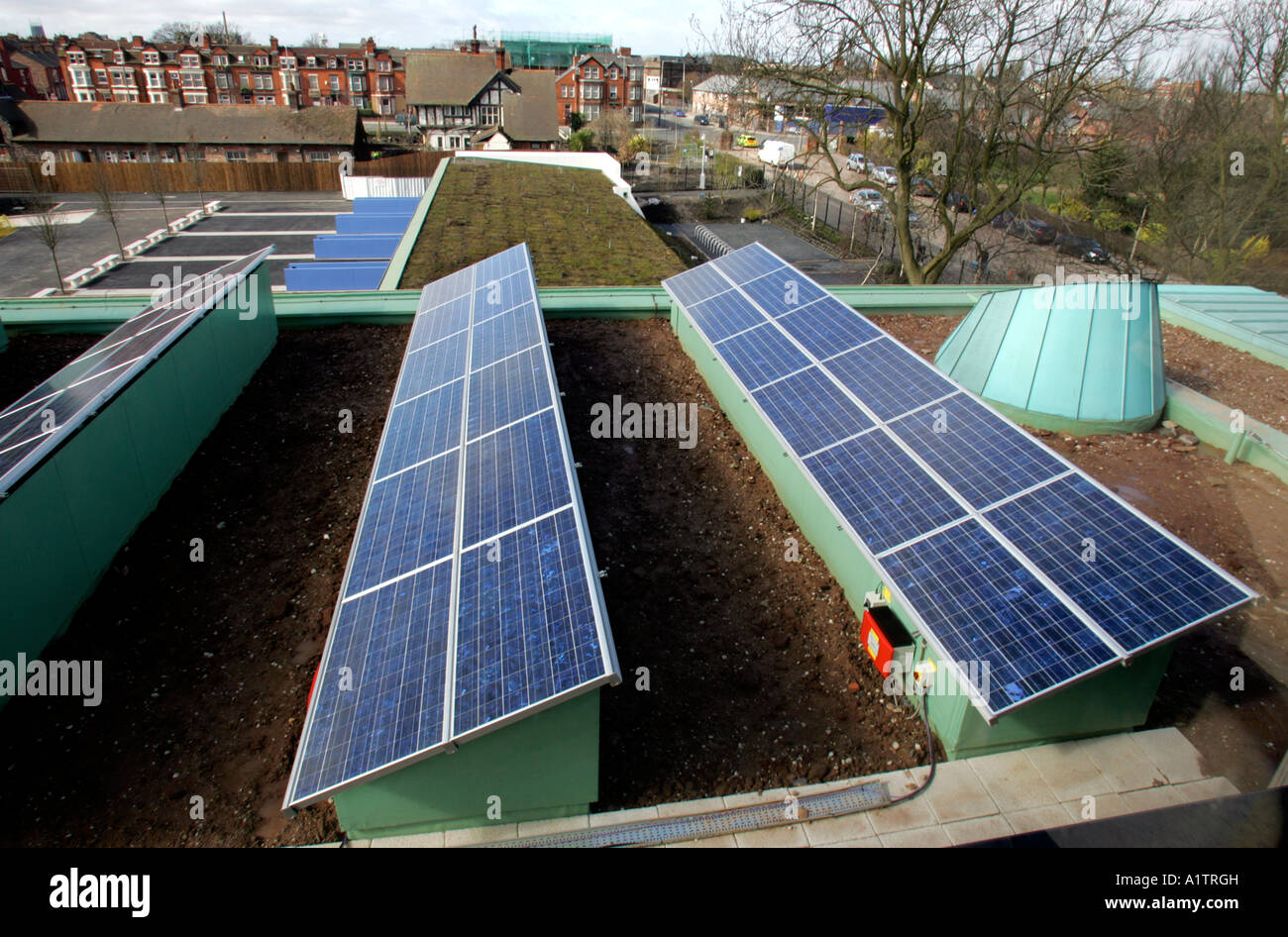 Solar Panels On The Roof Of School Building In Liverpool