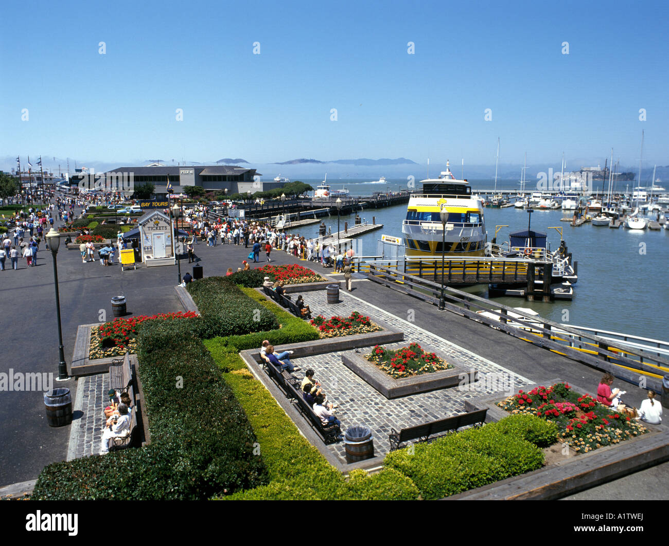 A tourist ferry moored at Pier 39 in San Francisco bay california usa - Stock Image
