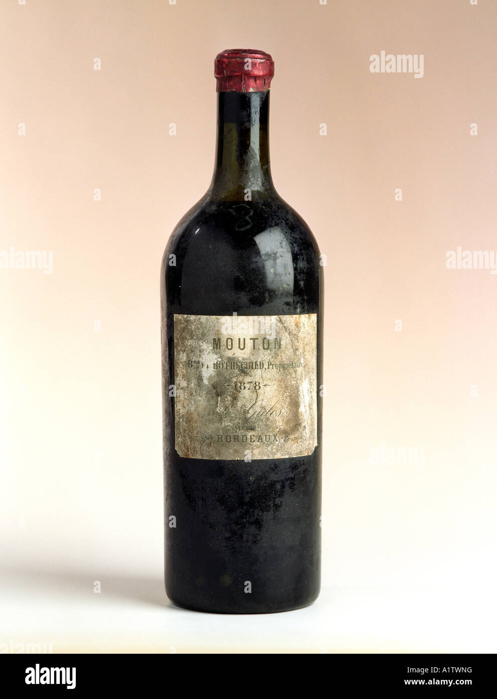 A very rare bottle of 1878 Mouton Rothschild red wine from the Bordeaux region of France - Stock Image