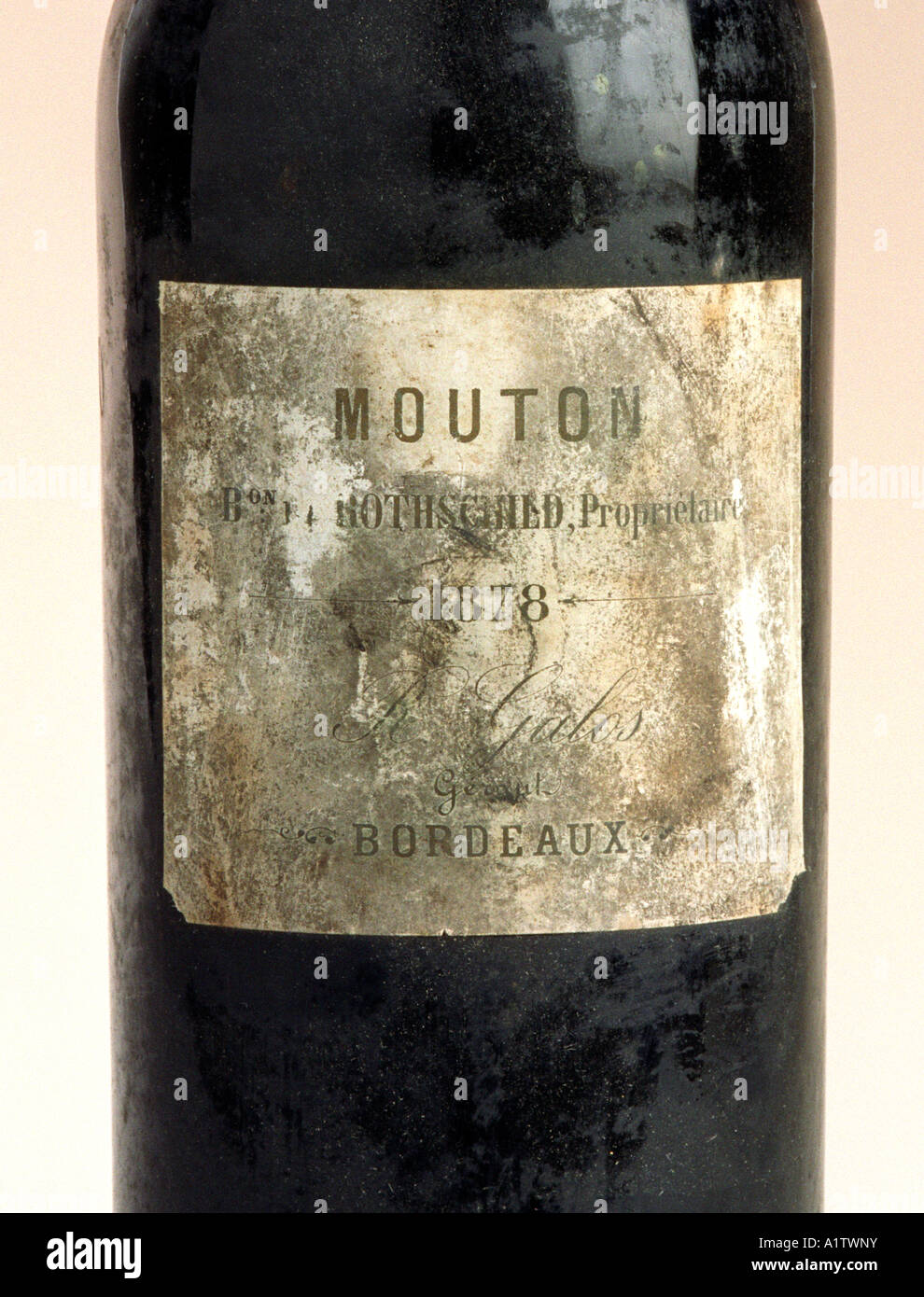 The label on a very rare bottle of 1878 Mouton Rothschild red wine from the Bordeaux region of France - Stock Image