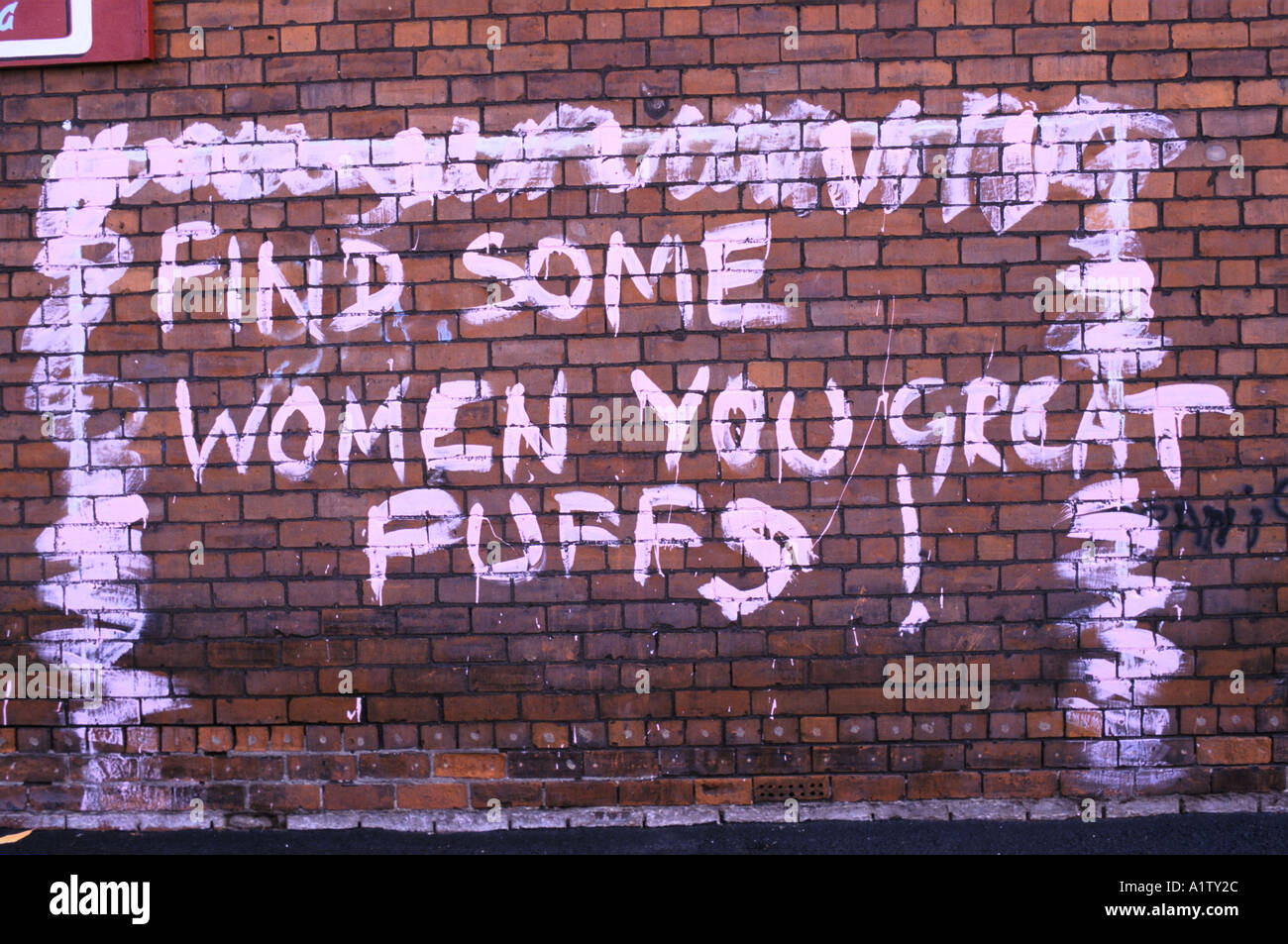 HOMOPHOBIC GRAFFITI ON BRICK WALL FIND SOME WOMEN YOU GREAT PUFFS HULL 1996 - Stock Image