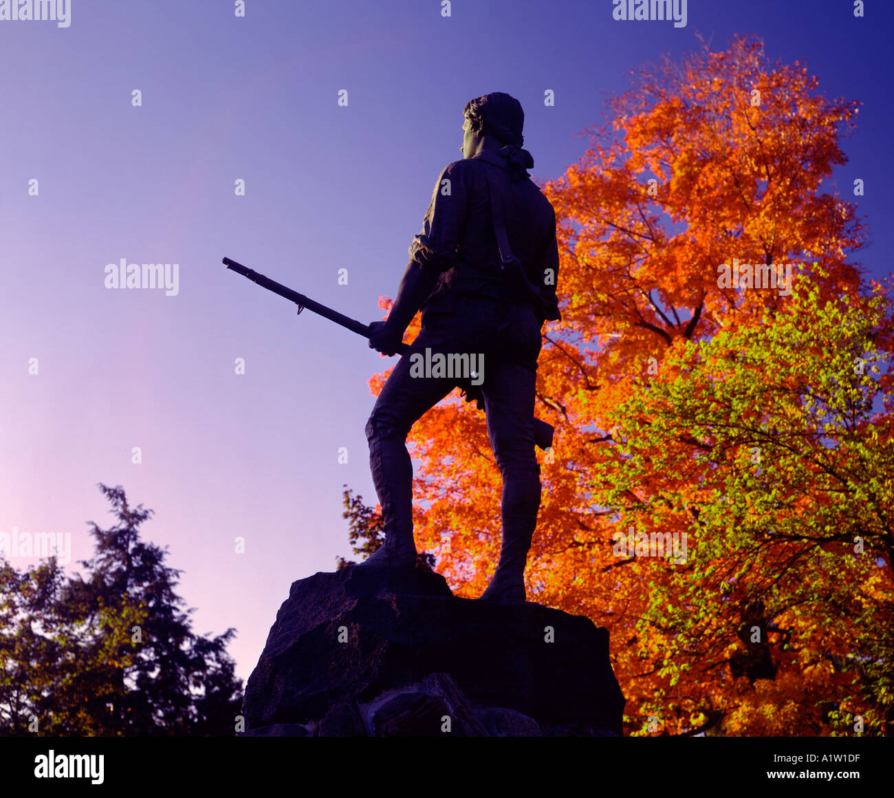 Minute Man statue  at Concord Massachusetts USA - Stock Image