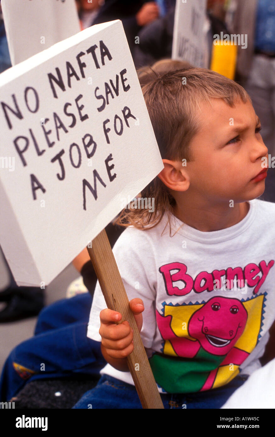 Lansing Michigan Rally against the North American Free Trade Agreement Stock Photo