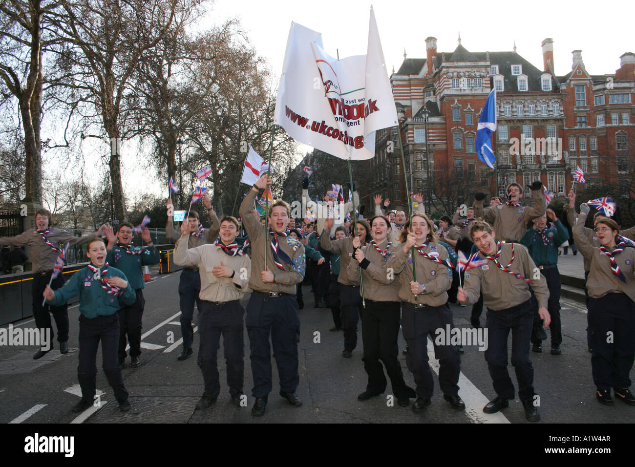 Scouts shouting for joy at the new years day parade London - Stock Image
