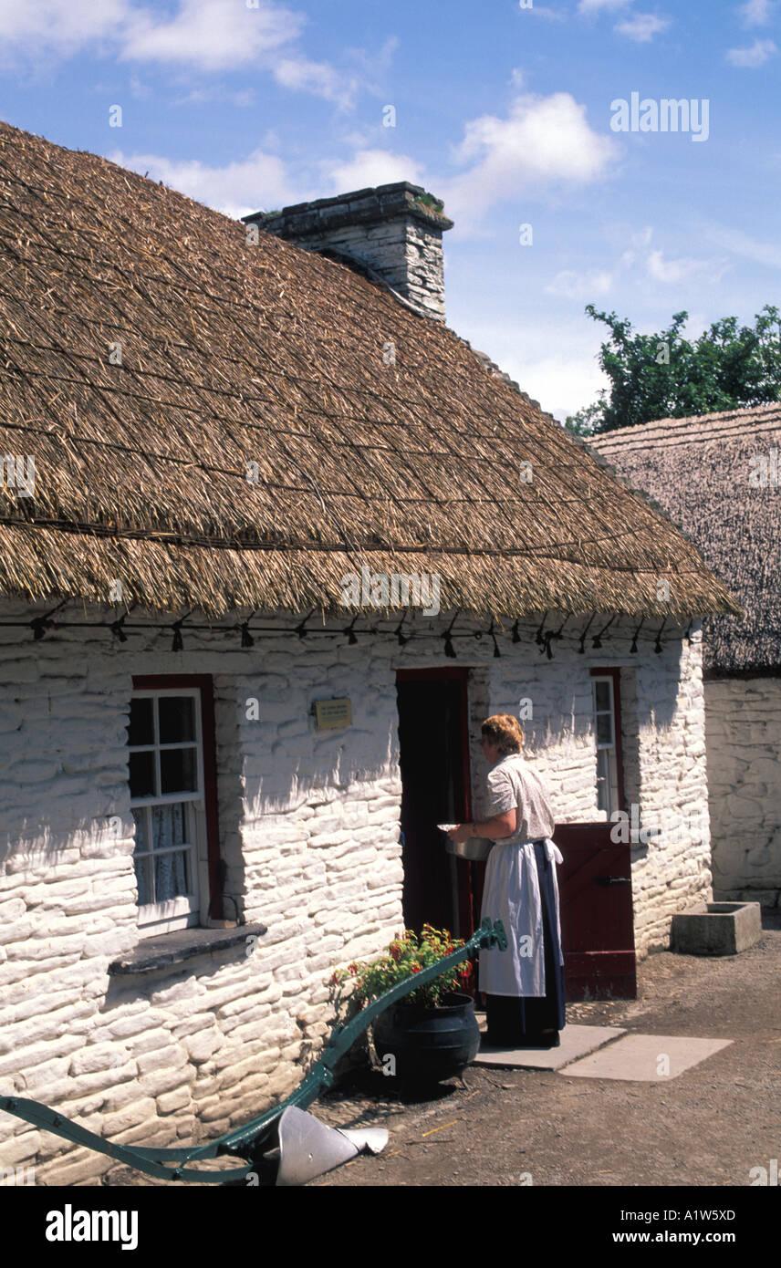 Ireland stone white whitewash cottage - Stock Image