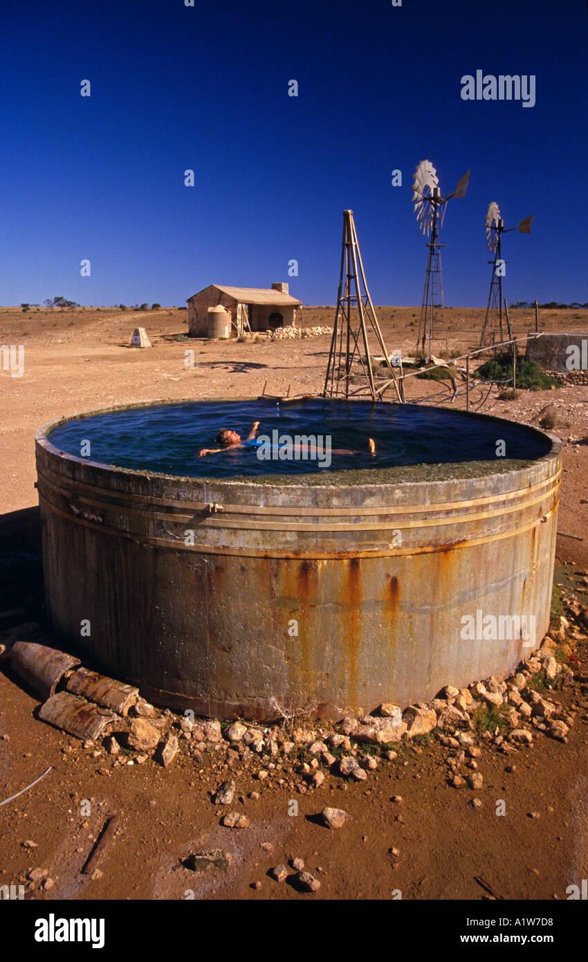 Swimming, outback Australia - Stock Image