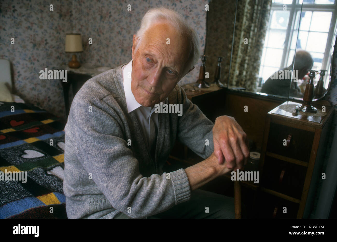 Old Age,Portrait Of A Senior Man In His Late Eighties - Stock Image
