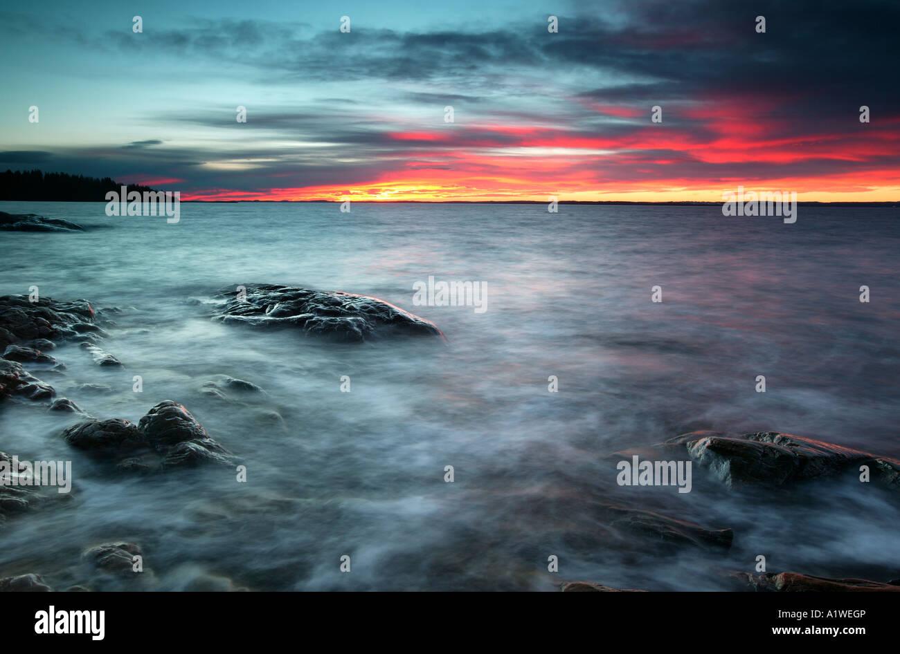 Beautiful sunset at Larkollen by the Oslofjord, Østfold fylke, Norway. - Stock Image