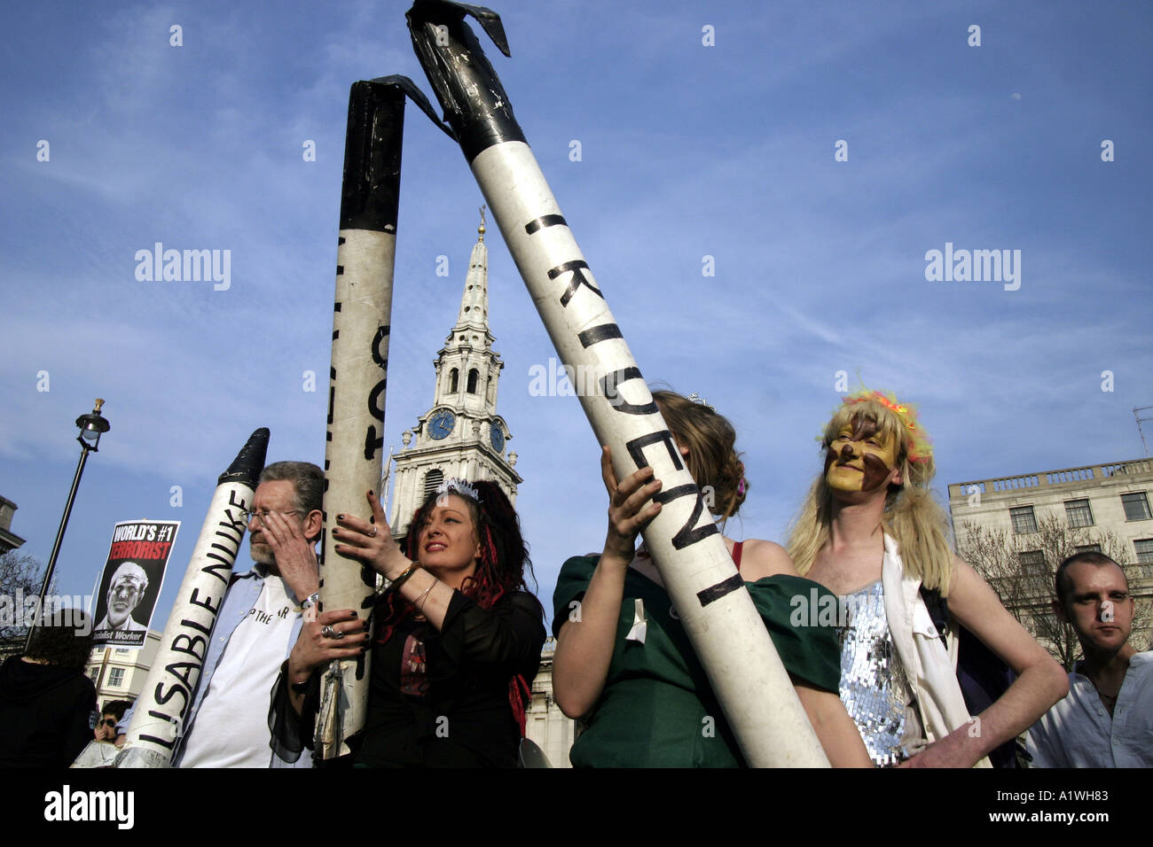 Anti trident protesters in London - Stock Image