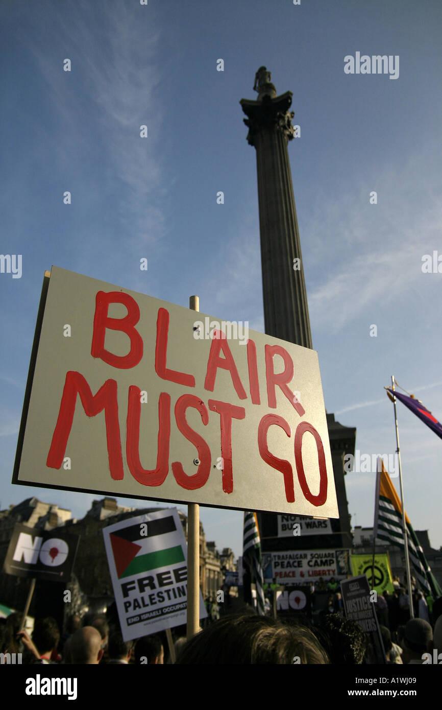 Anti Blair placard at anti war demo in London Trafalgar Square 2005 - Stock Image